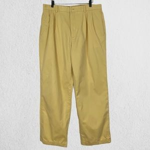 Henry Jacobson Pleated Cuffed Relaxed Fit Khaki Pants Sz 36x34 100% Cotton